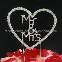 Mr & Mrs Love Heart Crystal Single Heart Wedding Decoration Cake Topper