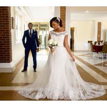 Vestido nupcial del cuadro verdadero de la venta caliente Vestidos de novia Vestido De Mariage Vestidos de boda del cordón de la manga del casquillo CWF2350