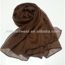 Bufanda de seda cuadrada llana barata de encargo de la gasa del color sólido