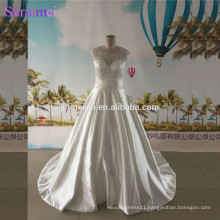 Ball Gown Wedding Dress Factory Real Photo with Cap Sleeves Satin Buttons Back Bride Gown