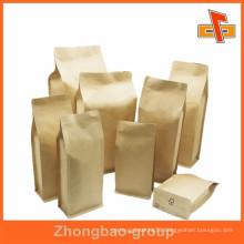 Biogradable food grade plain square bottom paper bag for packing with zipper