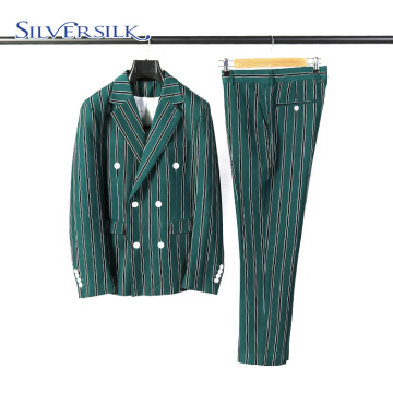 Stripe double breasted classic men suits with pants