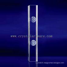 K9 3D Laser Flower Etched Crystal with Pillar Shape