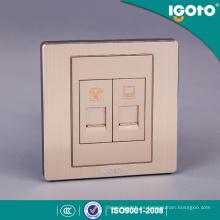 Estándar británico de aluminio cepillado y PC Material 1gang Tel Sokcet 1gang Socket de datos
