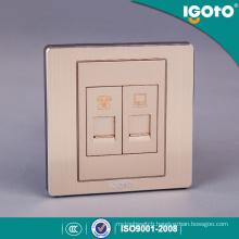 British Standard Brushed Aluminum and PC Material 1gang Tel Sokcet 1gang Data Socket
