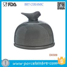 Plato de mantequilla de cerámica de pájaro en la tapa negro de la cocina