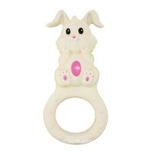 Brinquedos de borracha pequena do coelho da natureza, brinquedos do anel da dentição