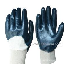 Gants de travail à moitié creusé nitrile bleu Chine