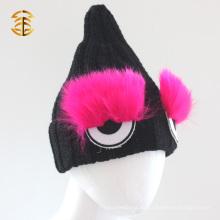 Kundengebundenes lustiges nettes Augen-Form-Kind-Winter strickte Hut
