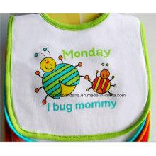 OEM Produce Cartoon Customized Logo Printed White Cheap Cotton Terry Baby Feeder Apron Bibs