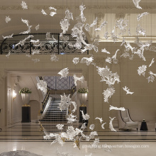 Customized charming fallen leaves crystal chandelier lamp