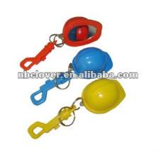 plastic safe hat shape bottle opener keychain for promotion
