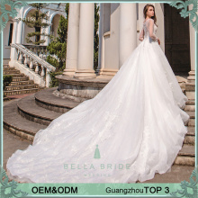 Designable white appliques apply china custome made long sleeve wedding dress