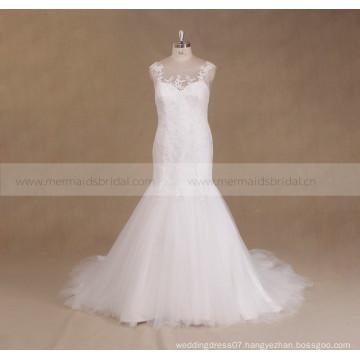 2017 Lace Beaded Backless Plus Size Mermaid Wedding Dress