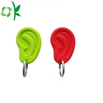 Debossed Unique Design Ear Form Silicone Keyrings