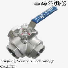 Three Way Reduced Port Medium Temperture Ball Valve with Handle