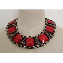 Alta qualidade Red Zircon Costume Fashion Jewelry Necklace (JE0039-3)
