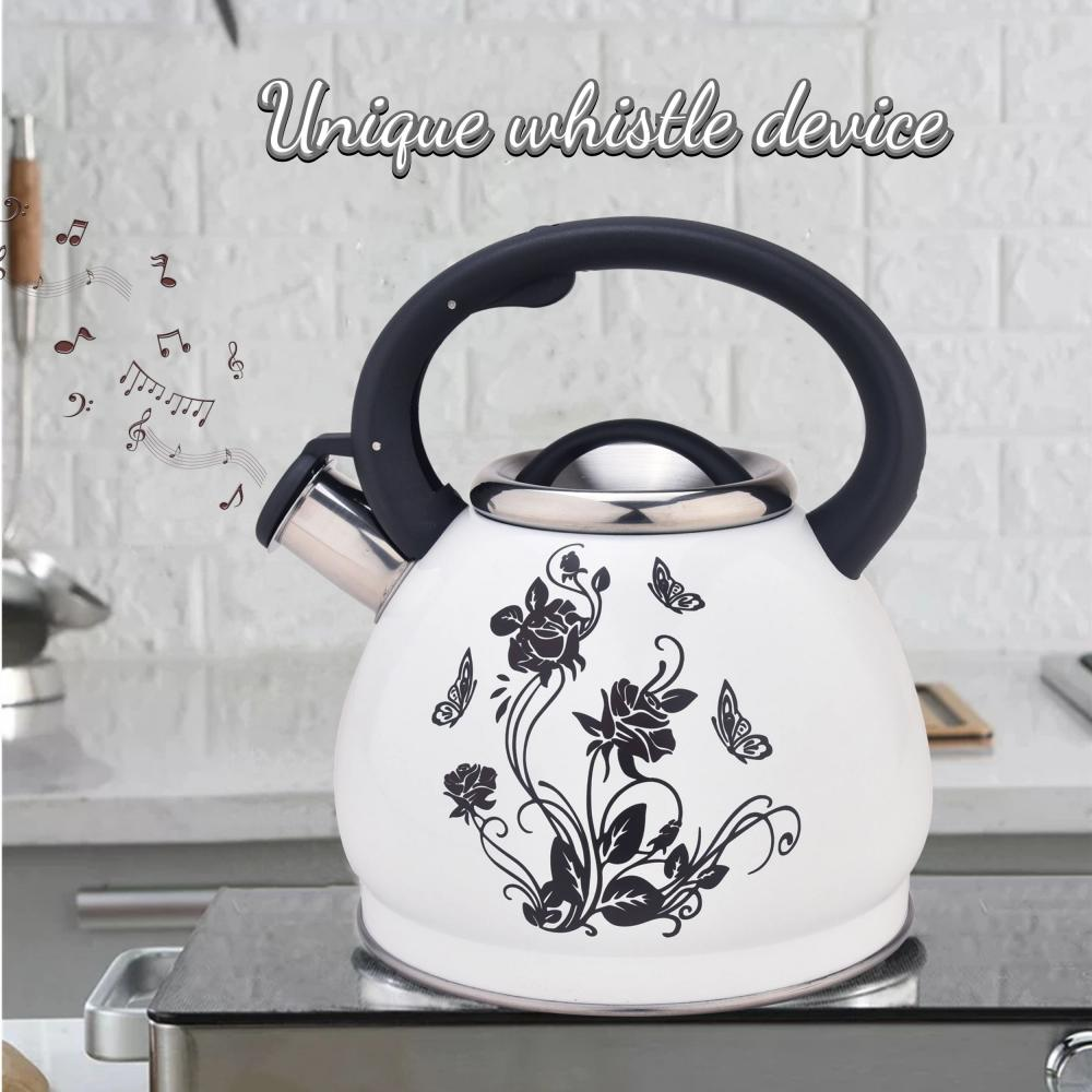 White Flower Pattern Stainless Steel Whistling Teapot