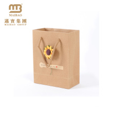 Wholesale Custom Floral Design Print Recycle Flower Carry Packaging Gift Kraft Paper Bags With Handle