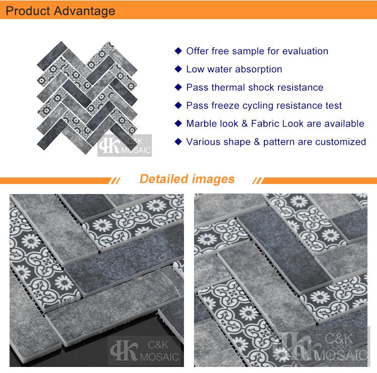 Mist Blue Inkjet Printing Glass Mosaic Subway Tile (2)