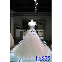 1A825 Gorgeous One Shouder Voltar Lace-Up Bordado A-Line vestido de casamento vestido de bola