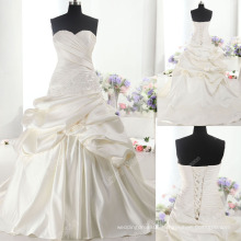 LS0123 Real ruched duches satin handmade flower lace sweetheart ball gown wedding dress dolce satin bridal wedding dress