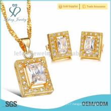 Wholesale stud crystal earrings jewelry set,18k gold jewelry set jewelry