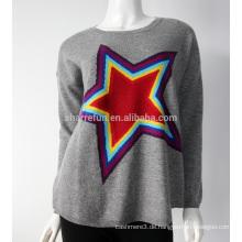 Sharrefun 100% reine Rundhals-Intarsien mongolischen Cashmere-Pullover für Frauen