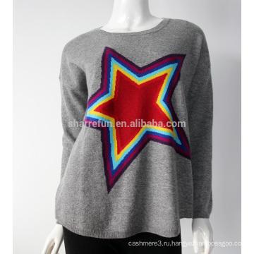 Sharrefun 100% чистого шею интарсия монгольский Кашемировый свитер для женщин