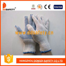 Bleach Cotton with Knitted Blue PVC Dots Gloves Dkp110