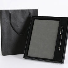 Factory price custom leather notebook with pen in gift box set