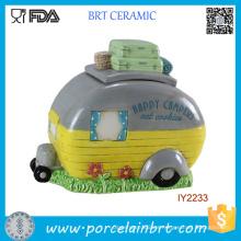 Cute Car Ceramic Camper Cookie Jar