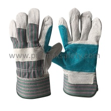 Reinforced Palm Cow Split Leather Work Glove with Rubberized Cuff