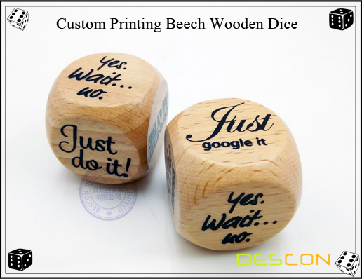 Custom Printing Beech Wooden Dice-2