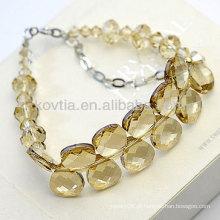 Braceletes de cristal austríacos luxuosos braceletes de cristal amarelos naturais