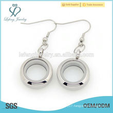 Fashion silver stainless steel twist floating glass locket pendant charms earring