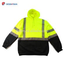 Yellow/Orange Night Safety Hi Vis Hooded Sweatshirt Class3 Safety Hoodie Road Work Jacket HIGH VISIBILITY