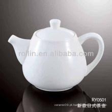 Estilo de japão saudável saudável forno de porcelana branca chaleira de chá seguro com tampa