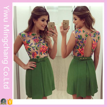 Wholesale Latest Summer Girls′ Sleeveless Printed Floral Short Dress