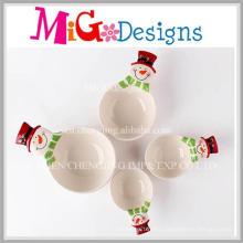 Set of Four Christmas Gift Ceramic Snowman Bowls