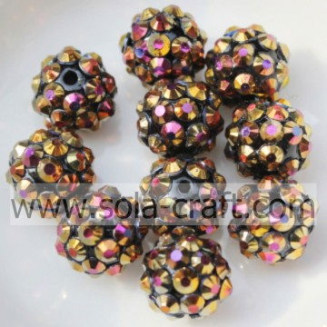 Oro AB colore resina acrilica strass palla perline 10 * 12MM