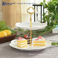 Forme ronde Design de fleurs Fine Ceramic Custom Design Porcelaine Deux couches Plateau de gâteau, plaque de fruits en porcelaine