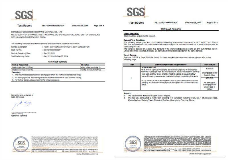 SGS report of panel clip