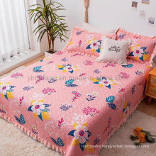 Hot Sale Hotel Cotton Bedspread King Size Deep Pink for Spring and Summer