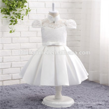2017 новая модель цельный платье белый цвет высокая шея мода девушки необычные цветок платье