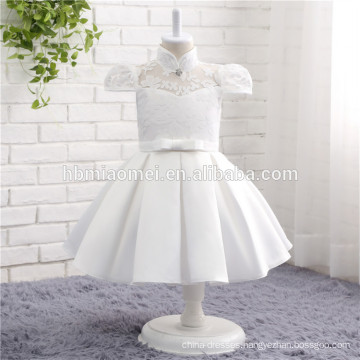 2017 New model one piece party dress white color high neck Fashion girl fancy flower dress