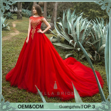 2017 Latest sdesign formal evening gown red heavy beaded evening gown for formal party