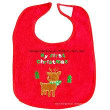 OEM Produce Customized Logo Embroidered Christmas Festival Promotional Cotton Baby Bib