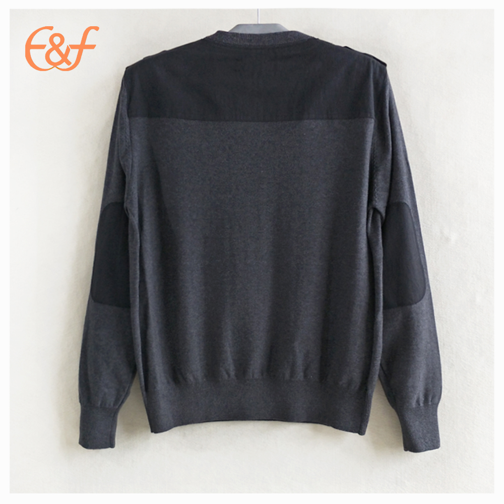 100% Cotton Fashion Elbow Patches Pullover Jumper Man