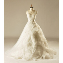 V Neck Tiered Wedding Gown with Lace Appliques